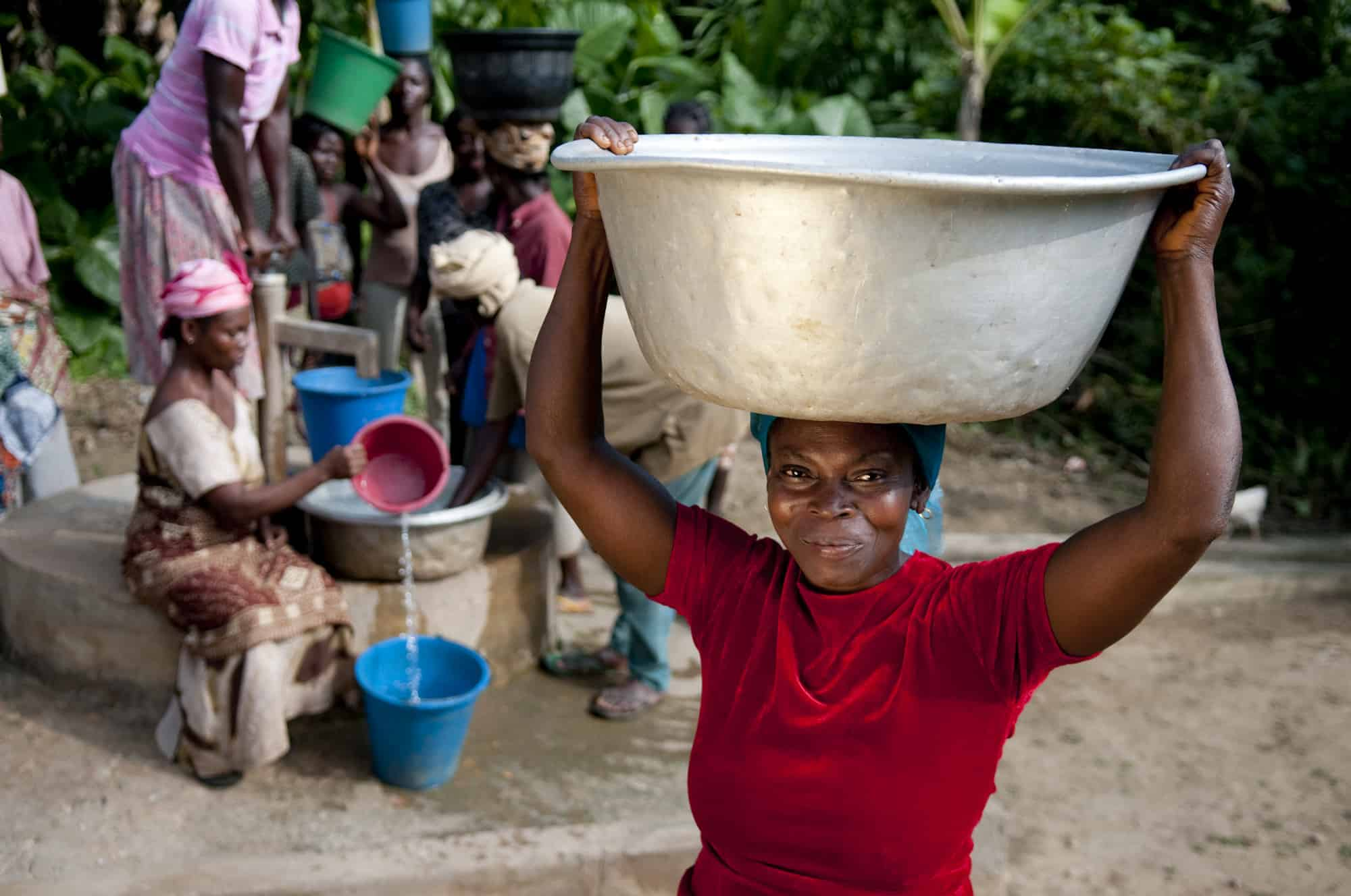 Women getting water in Africa